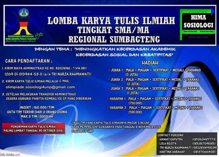 LKTI TINGKAT SMA/MA Negeri dan Swasta Provinsi Sumatera Barat, Riau dan Jambi
